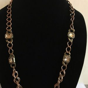 LOFT gold necklace with 4 rhinestones